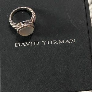 David Yurman Moonstone and Onyx Ring size 6